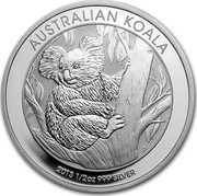 Australia 50 Cents Australian Koala 2013 KM# 1978 AUSTRALIAN KOALA 2013 1/2 OZ 999 SILVER P TV coin reverse