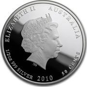 Australia 50 Cents Australian Sea Life - Clownfish 2010 KM# 1328 ELIZABETH II AUSTRALIA 1/2 OZ 999 SILVER 2010 50 CENTS IRB coin obverse