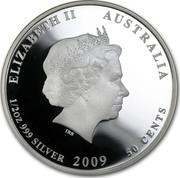 Australia 50 Cents Australian Sea Life - Leafy Sea Dragon 2009 KM# 1101 ELIZABETH II AUSTRALIA 1/2 OZ 999 SILVER 2009 50 CENTS IRB coin obverse