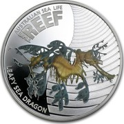 Australia 50 Cents Australian Sea Life - Leafy Sea Dragon 2009 KM# 1101 AUSTRALIAN SEA LIFE THE REEF LEAFY SEA DRAGON P WR coin reverse