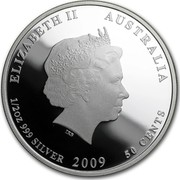 Australia 50 Cents Australian Sea Life - Lionfish 2009 KM# 1100 ELIZABETH II AUSTRALIA 1/2 OZ 999 SILVER 2009 50 CENTS IRB coin obverse