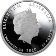 Australia 50 Cents Australian Sea Life - Moray Eel 2010 KM# 1389 ELIZABETH II AUSTRALIA 1/2 OZ 999 SILVER 2010 50 CENTS IRB coin obverse
