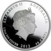 Australia 50 Cents Australian Sea Life - Octopus 2012 KM# 1712 ELIZABETH II AUSTRALIA 1/2 OZ 999 SILVER 2012 50 CENTS IRB coin obverse