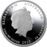 Australia 50 Cents Australian Sea Life - Seahorse 2010 KM# 1329 ELIZABETH II AUSTRALIA 1/2 OZ 999 SILVER 2010 50 CENTS IRB coin obverse