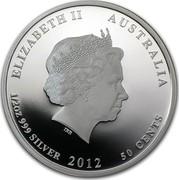 Australia 50 Cents Australian Sea Life - Surgeonfish 2012 KM# 1578 ELIZABETH II AUSTRALIA 1/2 OZ 999 SILVER 2012 50 CENTS IRB coin obverse