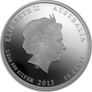 Australia 50 Cents Bush Babies - Platypus 2013 KM# 1915 ELIZABETH II AUSTRALIA 1/2 OZ 999 SILVER 2013 50 CENTS IRB coin obverse