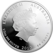 Australia 50 Cents Bush Babies - Sugar Glider 2010 KM# 1450 ELIZABETH II AUSTRALIA 1/2 OZ 999 SILVER 2010 50 CENTS IRB coin obverse