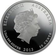 Australia 50 Cents Bush Babies - Wombat 2013 KM# 1914 ELIZABETH II AUSTRALIA 1/2 OZ 999 SILVER 2013 50 CENTS IRB coin obverse