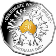 Australia 50 Cents Celebrate What's Great 2010 Proof KM# 1525a CELEBRATE WHAT'S GREAT 50 AUSTRALIA DAY coin reverse