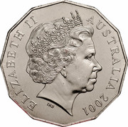 Australia 50 Cents (Centenary of Federation - Australia) KM# 491.1 ELIZABETH II AUSTRALIA 2001 IRB coin obverse