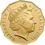 Australia 50 Cents Centenary of Federation - Gold edition 2001 B Proof KM# 491.1A ELIZABETH II AUSTRALIA 2001 coin obverse