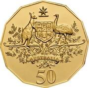 Australia 50 Cents Centenary of Federation - Gold edition 2001 B Proof KM# 491.1A AUSTRALIA 50 coin reverse