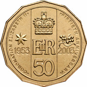 Australia 50 Cents Coronation Jubilee 2003 KM# 799 CORONATION ELIZABETH II FIFTIETH ANNIVERSARY 1953 E II R 2003 50 coin reverse