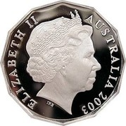 Australia 50 Cents Fiftieth Anniversary of Coronation Elizabeth II 2003 Proof KM# 799a ELIZABETH II AUSTRALIA 2003 coin obverse