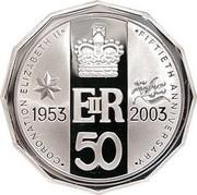 Australia 50 Cents Fiftieth Anniversary of Coronation Elizabeth II 2003 Proof KM# 799a CORONATION ELIZABETH II FIFTIETH ANNIVERSARY 1953 EIIR 2003 50 coin reverse