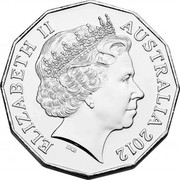 Australia 50 Cents Fifty Years of The Australian Ballet 2012 Proof KM# 1854a ELIZABETH II AUSTRALIA 2012 IRB coin obverse