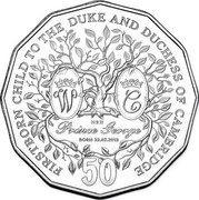 Australia 50 Cents Firstborn Baby of the Duke and Duchess of Cambridge 2013 KM# 2146a FIRST BORN CHILD TO THE DUKE AND DUCHESS OF CAMBRIDGE W. C HRH PRINCE GEORGE BORN 22.07.2013 50 coin reverse