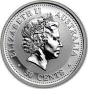 Australia 50 Cents Lunar Dog 2006 KM# 1877 ELIZABETH II AUSTRALIA 50 CENTS IRB coin obverse
