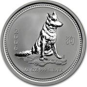 Australia 50 Cents Lunar Dog 2006 KM# 1877 2006 1/2 OZ 999 SILVER coin reverse