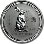 Australia 50 Cents Lunar Rabbit 1999 KM# 501 1999 1/2 OZ 999 SILVER P100 coin reverse