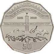 Australia 50 Cents Melbourne Cup 2010 KM# 1501 FLEMINGTON 1861 2010 150TH RUNNING OF THE MELBOURNE CUP 50 coin reverse