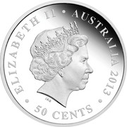 Australia 50 Cents Newborn Baby 2013 P KM# 1926 ELIZABETH II AUSTRALIA 1/2 OZ 999 AG 2017 50 CENTS IRB coin obverse