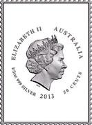 Australia 50 Cents One penny stamp - Kangaroo 2013 KM# 2141 ELIZABETH II AUSTRALIA 1/2 OZ 999 SILVER 2013 50 CENTS IRB coin obverse