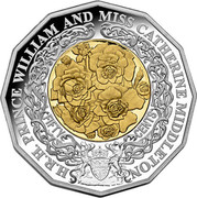 Australia 50 Cents Prince William and Catherine Middelton 2010 KM# 1571a H.R.H. PRINCE WILLIAM AND MISS CATHERINE MIDDLETON FIFTY CENTS coin reverse