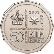 Australia 50 Cents Queen's 50th Anniversary of Accession 2002 KM# 645 ELIZABETH ACCESSION FIFTIETH ANNIVERSARY 1952.2002 50 E II R GEORGE VI coin reverse