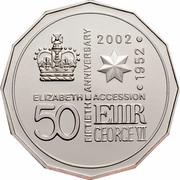 Australia 50 Cents Queen's 50th Anniversary of Accession 2002 KM# 645a ELIZABETH ACCESSION FIFTIETH ANNIVERSARY 1952.2002 50 E II R GEORGE VI coin reverse