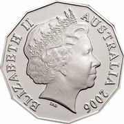 Australia 50 Cents Queen's 80th Birthday 2006 KM# 801 ELIZABETH II AUSTRALIA 2006 IRB coin obverse