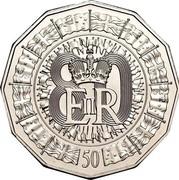 Australia 50 Cents Queen's 80th Birthday 2006 KM# 801 80 EIIR 50 coin reverse