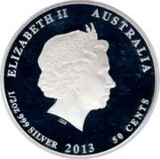 Australia 50 Cents Rainbow Lorikeet 2013 KM# 1925 ELIZABETH II AUSTRALIA 1/2 OZ 999 SILVER 2013 50 CENTS IRB coin obverse