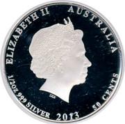 Australia 50 Cents Red-tailed Black-Cockatoo 2013 KM# 1815 ELIZABETH II AUSTRALIA 1/2 OZ 999 SILVER 2013 50 CENTS IRB coin obverse