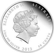 Australia 50 Cents Regent Bowerbird 2013 KM# 2140 ELIZABETH II AUSTRALIA 1/2 OZ 999 SILVER 2013 50 CENTS IRB coin obverse