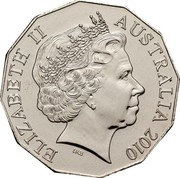 Australia 50 Cents Royal Engagement 2010 KM# 1571 ELIZABETH II AUSTRALIA 2010 IRB coin obverse