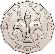 Australia 50 Cents Scouting 2008 KM# 1049 YEAR OF THE SCOUT 50 CENTS coin reverse