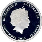 Australia 50 Cents Splendid Fairy-Wren 2013 KM# 2057 ELIZABETH II AUSTRALIA 1/2 OZ 999 SILVER 2013 50 CENTS IRB coin obverse