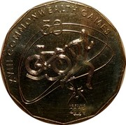 Australia 50 Cents Triathlon 2006 KM# 778 XVIII COMMONWEALTH GAMES 50 MELBOURNE 2006 coin reverse