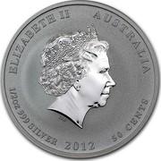 Australia 50 Cents Year of the Dragon 2012 KM# 1663 ELIZABETH II AUSTRALIA 1/2 OZ 999 SILVER 2012 50 CENTS IRB coin obverse