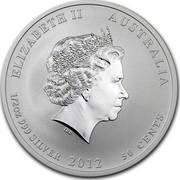 Australia 50 Cents Year of the Dragon (Colorized) 2012 KM# 1663a ELIZABETH II AUSTRALIA 1/2 OZ 999 SILVER 2012 50 CENTS IRB coin obverse