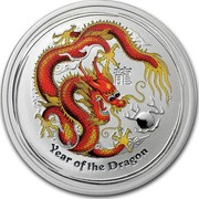 Australia 50 Cents Year of the Dragon (Colorized) 2012 KM# 1663a YEAR OF THE DRAGON P coin reverse