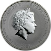 Australia 50 Cents Year of the Mouse 2008 KM# 1879 ELIZABETH II AUSTRALIA 1/2 OZ 999 SILVER 2008 50 CENTS IRB coin obverse