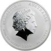 Australia 50 Cents Year of the Ox (Colorized) 2009 KM# 1750a ELIZABETH II AUSTRALIA 1/2 OZ 999 SILVER 2009 50 CENTS IRB coin obverse