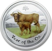 Australia 50 Cents Year of the Ox (Colorized) 2009 KM# 1750a YEAR OF THE OX P coin reverse