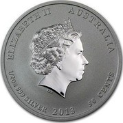 Australia 50 Cents Year of the Snake (Colorized) 2013 KM# 1832a ELIZABETH II AUSTRALIA 1/2 OZ 999 SILVER 2013 50 CENTS IRB coin obverse