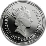Australia 50 Dollars Australian Koala 1989 Proof KM# 125 ELIZABETH II AUSTRALIA 50 DOLLARS coin obverse