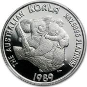 Australia 50 Dollars Australian Koala 1989 Proof KM# 125 THE AUSTRALIAN KOALA 1/2OZ 9995 PLATINUM 1989 coin reverse
