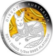 Australia 50 Dollars Discover Australia - Dingo 2011 KM# 1563 DISCOVER AUSTRALIA 2011 DINGO 1/2 OZ 9995 PLATINUM P DB coin reverse