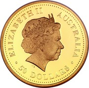 Australia 50 Dollars Discover Australia - Dolphin 2008 KM# 1196 ELIZABETH II AUSTRALIA 50 DOLLARS IRB coin obverse